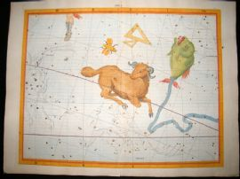 Flamsteed Atlas Coelestis 1781 LG Folio H/Col Celestial Map. Aries 1 Astrology